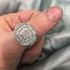 Other - 14k & .925 - large ring - approx. 1cttw diamonds
