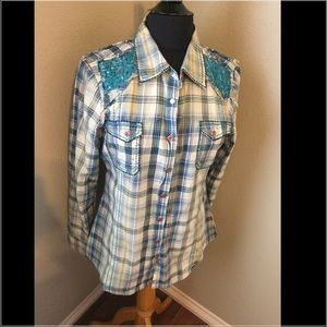 Roar Tops - Flannel top with pretty sequin detail on shoulders