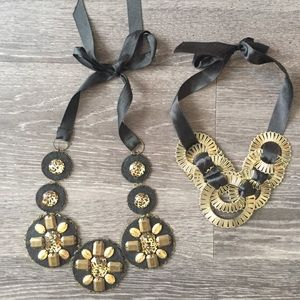 Macy's black ribbon necklaces (2)