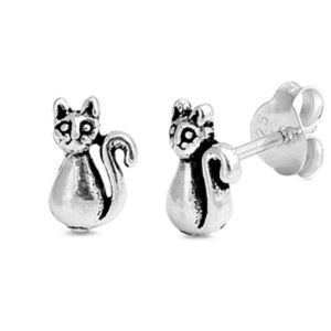 Jewelry - Small cat Stud Earring Sterling Silver