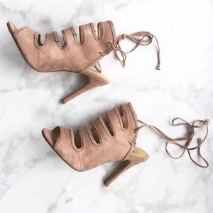 Style Link Miami Shoes - NUDE CAGED STRAPPY LACE UP HEELS