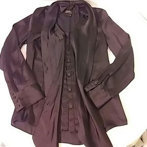 Spense Womens M Button Front Long Slv Shirt