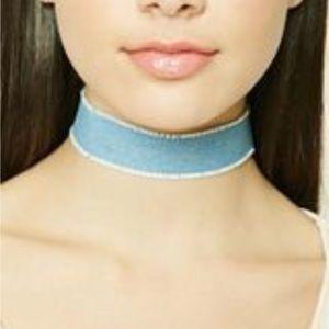 Light Blue Jean Choker w/ gold clasp closure