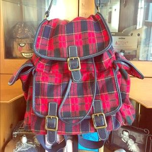 Handbags - Red Plaid Backpack