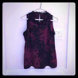 T Tahari Tops - T Tahari maroon and black silk blouse S
