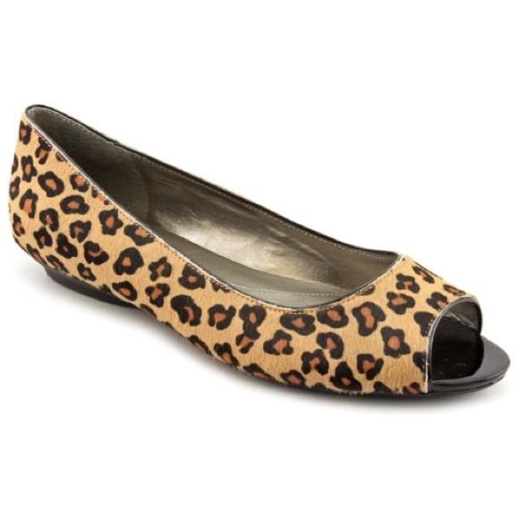 7d099684d38d Bandolino Shoes - Bandolino leopard pony hair peep open toe flats