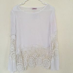 Mimi Chica Tops - Boho Bell Sleeved Lace Top