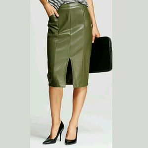 Who What Wear Dresses & Skirts - Faux Leather Below Knee Front Slit Skirt