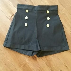 Stop Staring Pants - Stop Staring Black High Wasted Sailor Shorts