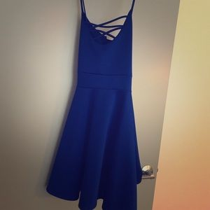 Lace Up Skater Dress in Cobalt Blue
