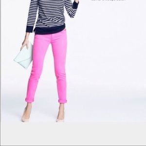 J. Crew hot pink toothpick stretch jeans