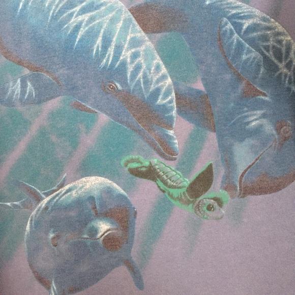 Vintage Tops - VTG 90's dolphin crop top sea turtle tie tee