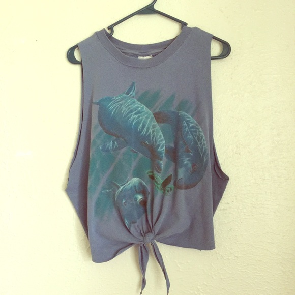Vintage Tops - VTG 90's dolphin crop top sea turtle tie tee