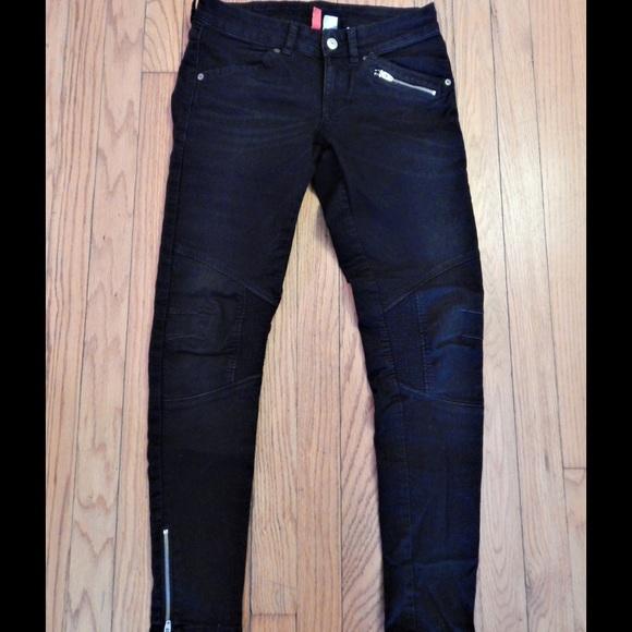 H&M Denim - H&M Black Moto Skinny Jeans Sz 6