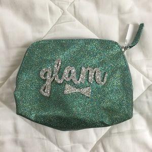 """Bath & Body Works Handbags - Teal Glitter """"Glam"""" Cosmetic Bag"""