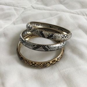 Jewelry - Set of 3 Metal Snake Print Bangle Bracelets