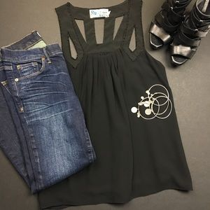 Anthropologie Tops - Anthropologie C. Luce Black Beaded Cut Out Tank