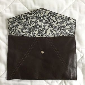 Handbags - Dark Brown Envelope Clutch w/ Screws Print Lining