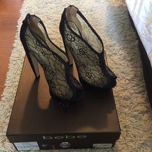 BRAND NEW with box BEBE Lacey Heels Black Peep Toe