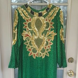 Gorgeous green beaded silk gown
