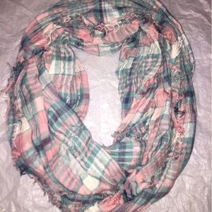 Accessories - Peach And Teal Plaid Infinity Scarf