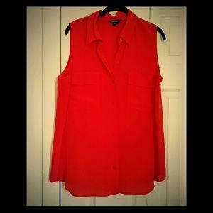 Orange sleeveless silk blouse