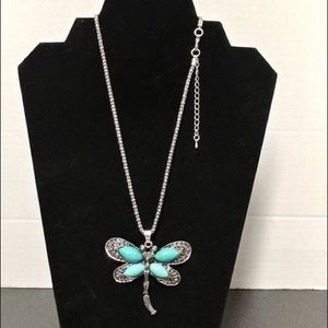 Turquoise Dragonfly Pendant with Chain