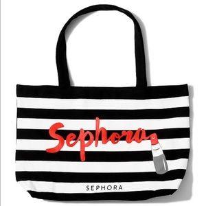 Black and White Striped Sephora Tote Bag