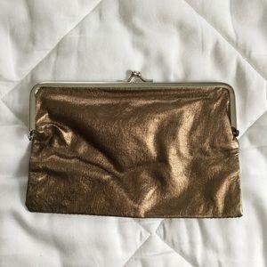 Handbags - Copper Metallic Vinyl Clutch w/ Peacock Lining