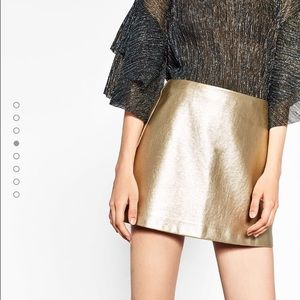 Zara Dresses & Skirts - 🆕Zara woman metallic skirt - gold