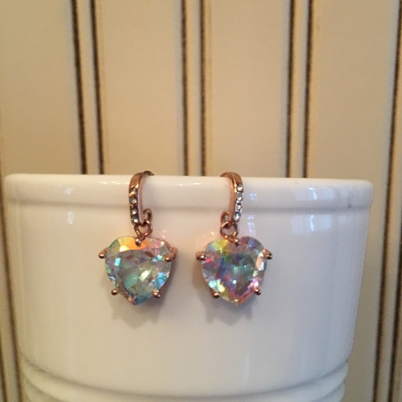 4a4937129 Juicy Couture Jewelry - Juicy Couture iridescent heart rose gold earrings