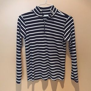 LLBean striped cotton half zip