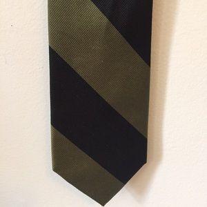 J. Crew Other - J. Crew Green & Black Stripe English Silk Tie