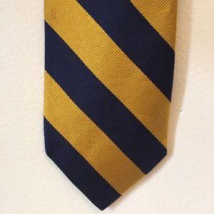 J. Crew Other - J. Crew Blue & Gold Diagonal Stripe Silk Tie