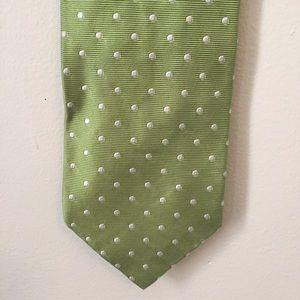 J. Crew Other - J. Crew Italian Silk Green and White Dot Tie