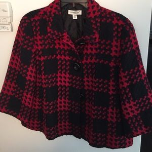Coldwater Creek Jackets & Blazers - Chico's Wool Swing Red and black plaid jacket