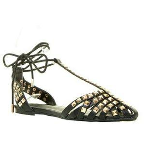 Wild Diva Studded Ballet Flat Sandals