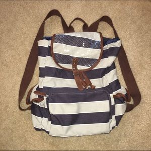 Small Navy and Grey Striped Backpack
