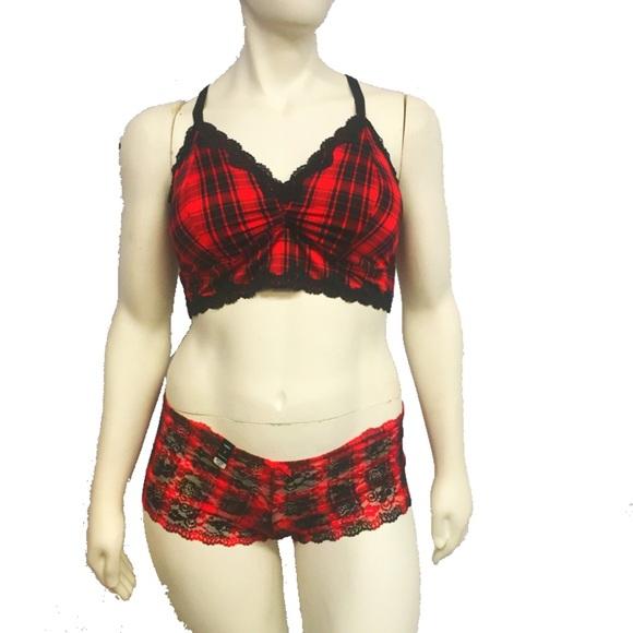 b424e0ac52317 Plaid Bralette and Cheeky Panty Set. Listing Price   45