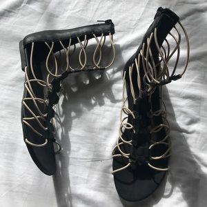 MIA elastic lace up sandals black 6.5