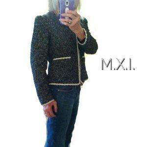 MXI Jackets & Blazers - MXI BLACK & WHITE SPECKLED ZIP UP CARDIGAN