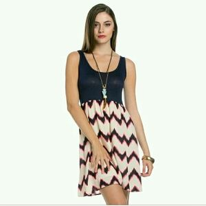Sale Blue, Pink and Cream Chevron Dress