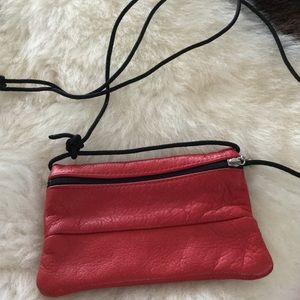 Red leather crossbody phone/? Bag