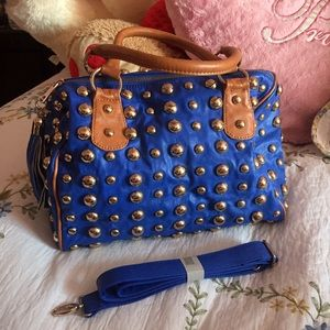 Orange Caramel Handbags - Blue and Gold Studded Satchel With Shoulder Strap