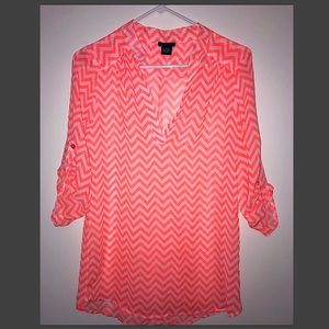 Sheer Chevron Blouse Sz M