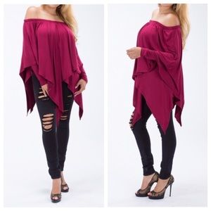 Tops - Off Shoulder Poncho Style Top
