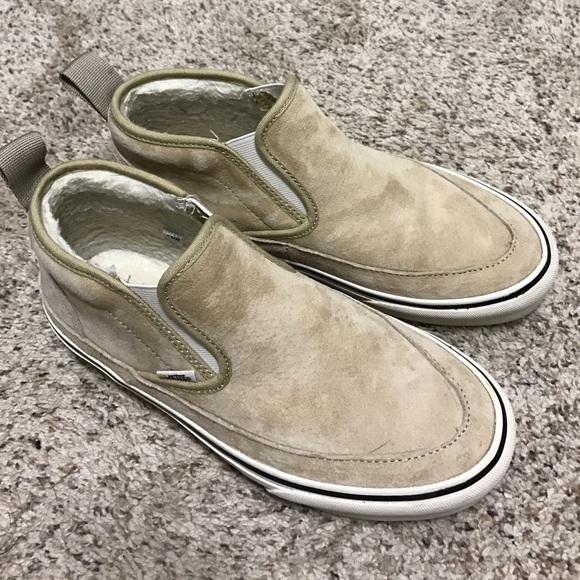 vans leather slip on sf