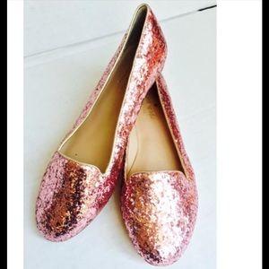 kate spade pink glitter flats