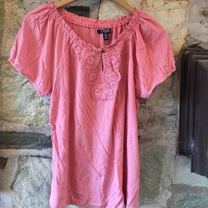 Chaps Tops - pink embroidered top from Chaps. Sz large