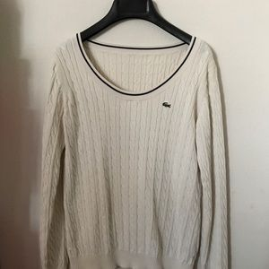 Lacoste scoop neck cable knit in ivory